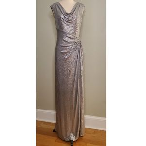 Lauren Ralph Lauren Silver Metallic Evening Gown